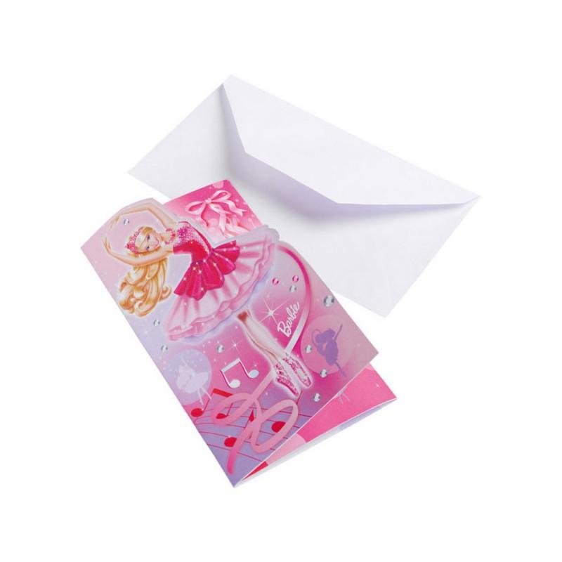 Barbie Ballerina party pozivnice sa kovertom 6 kom.