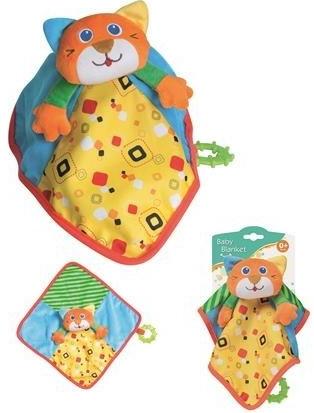 Plišana zvečka u obliku prekrivača sa motivom mačke