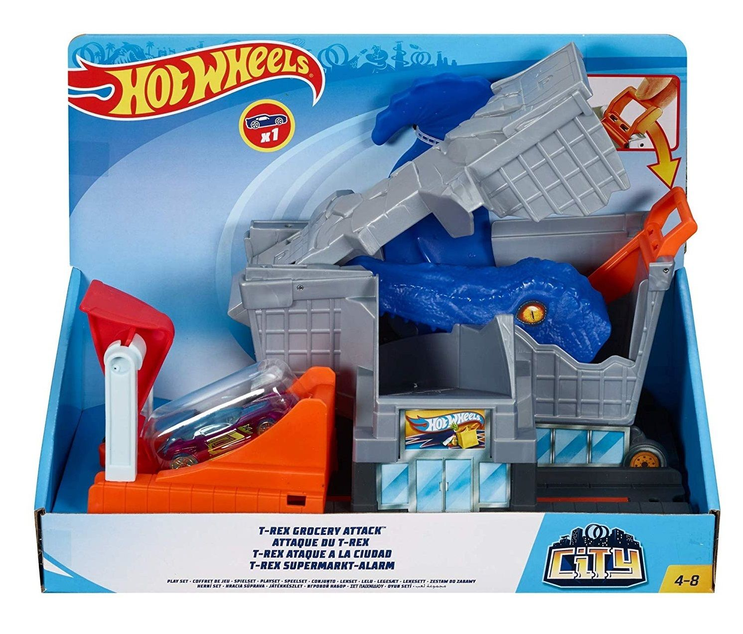 Hot Wheels T-rex Grocery Attack set