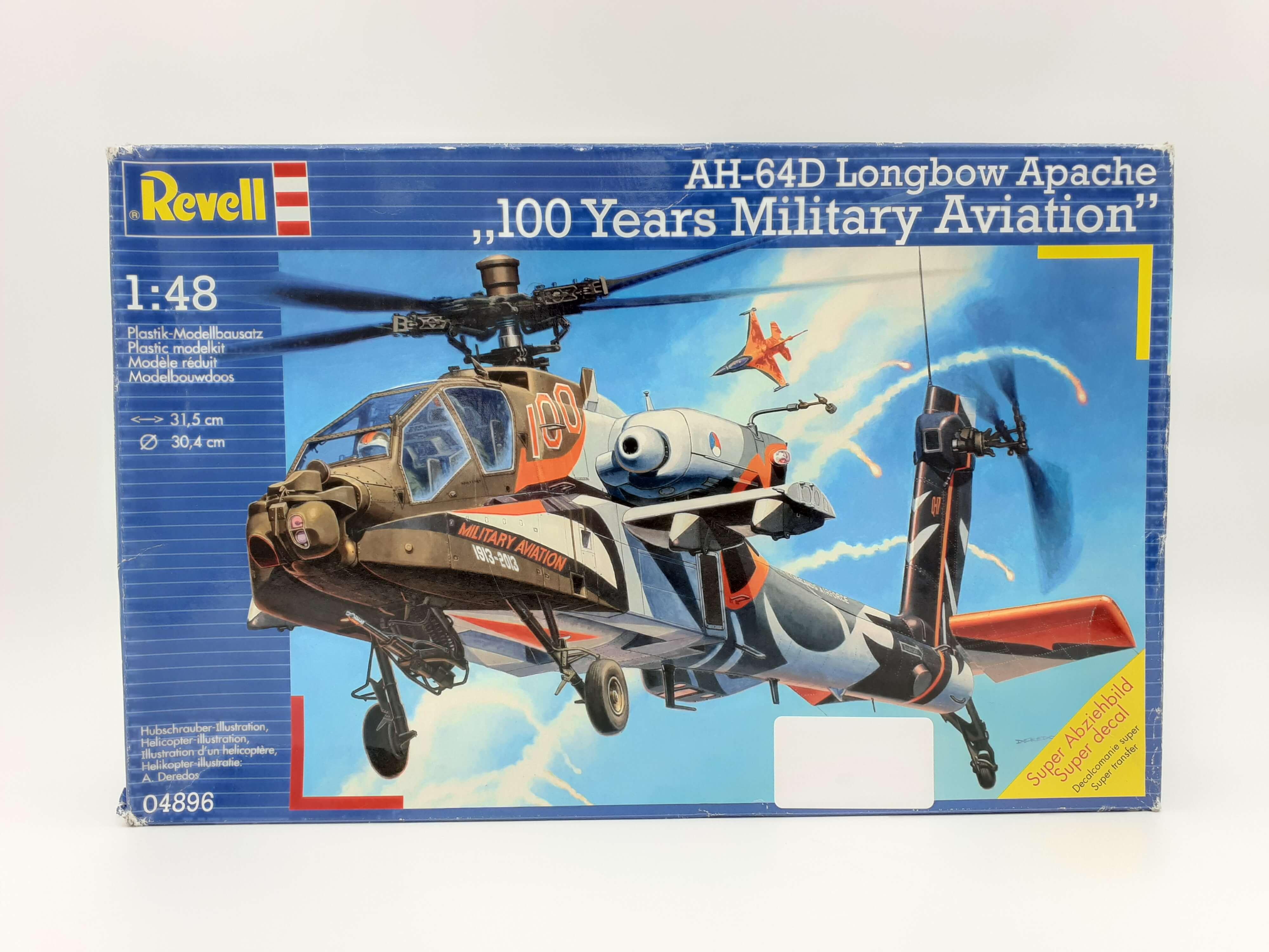 Revell maketa AH-64D Longbow Apache 100 years military aviation 1:48 - oštećeno pakovanje