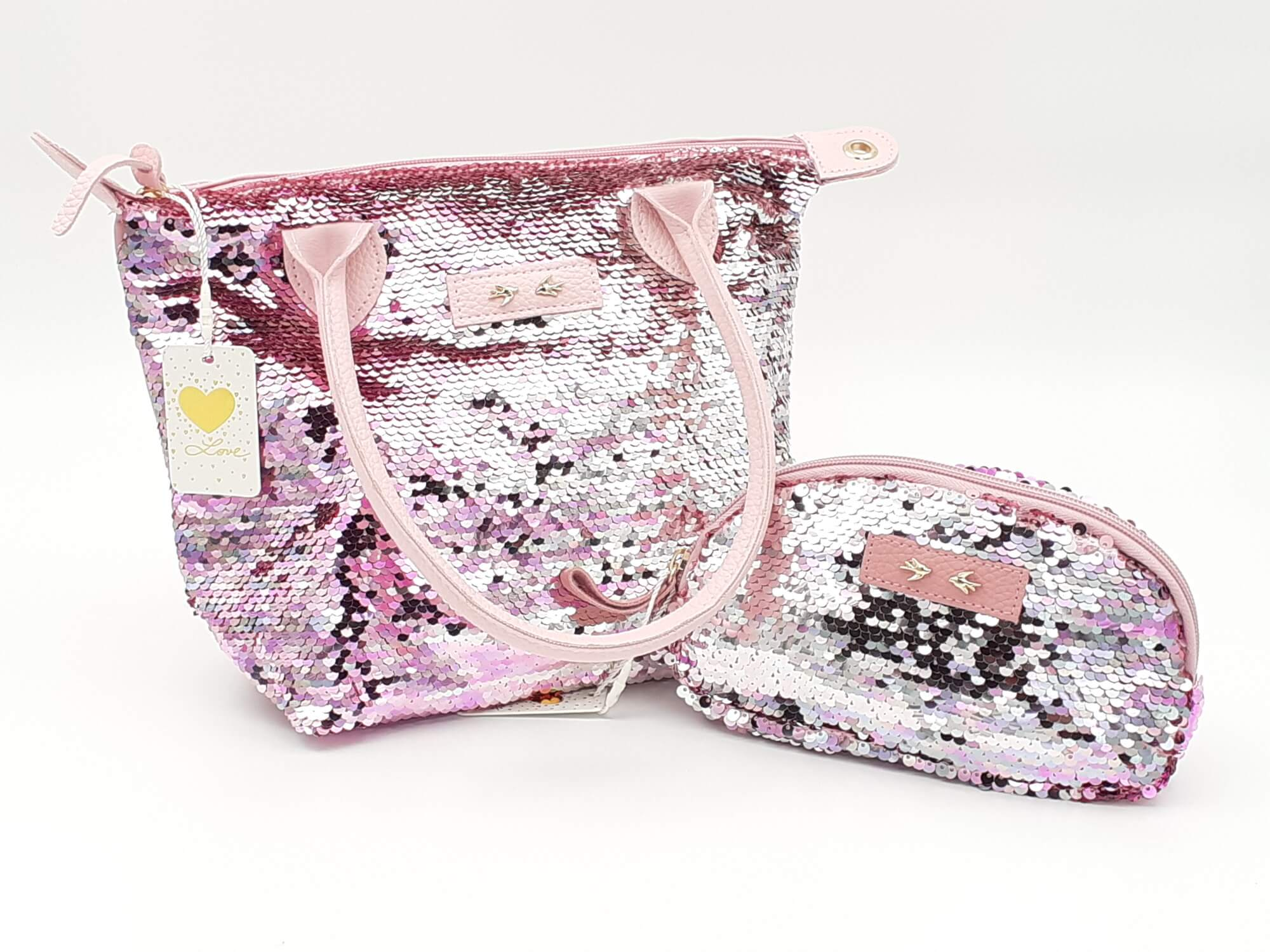 Depesche Trend Love roze torba i neseser SET sa šljokicama